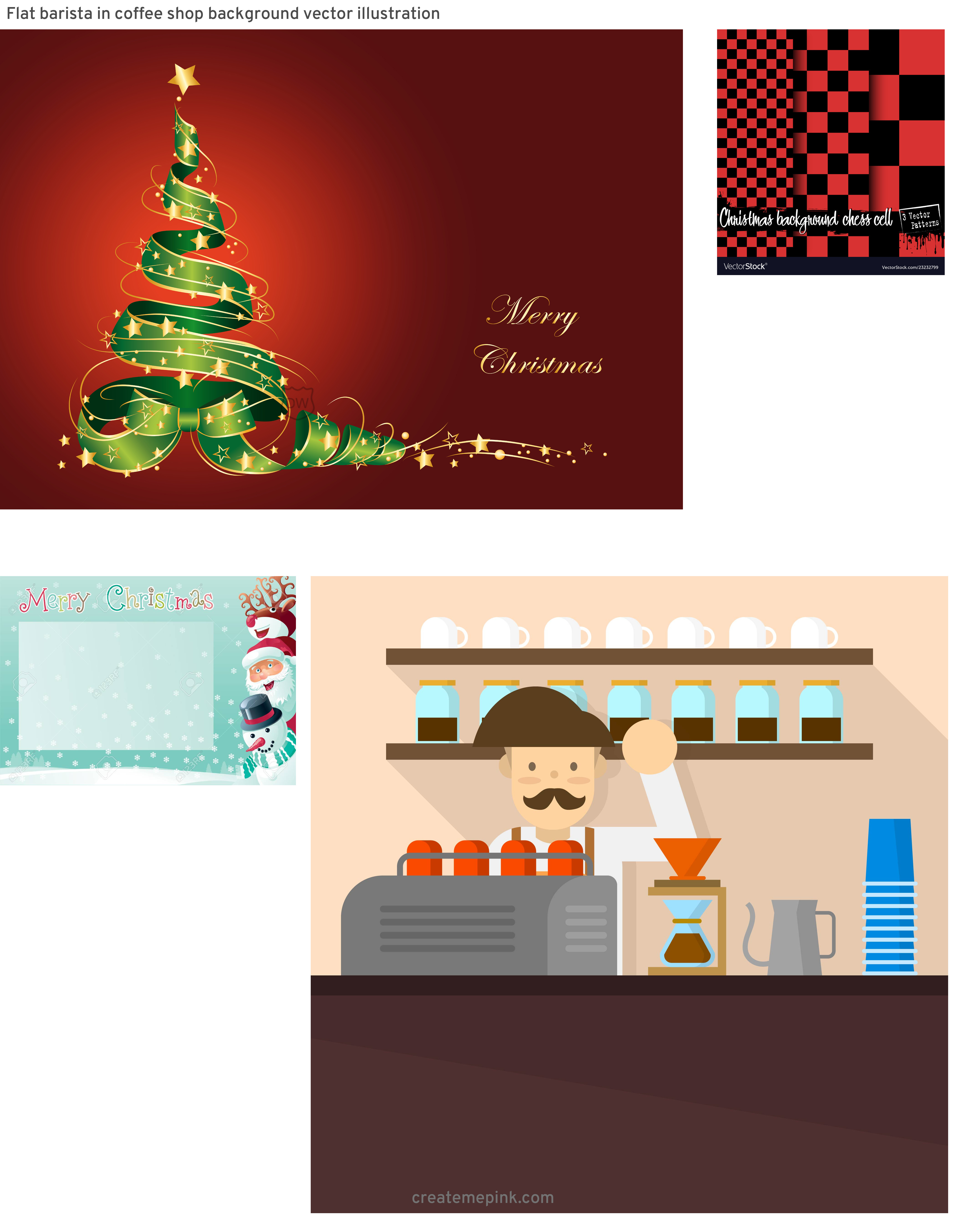 Professional Christmas Backgrounds Vector: Flat Barista In Coffee Shop Background Vector Illustration