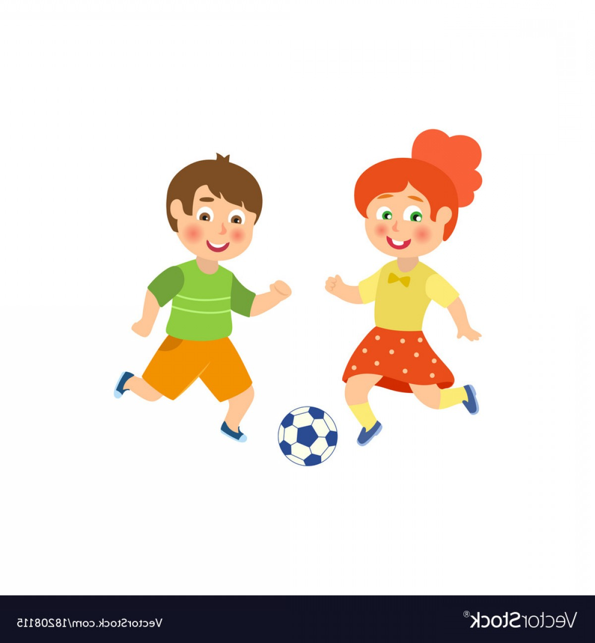 Vector Football Girl: Flat Boy Girl Character Playing Football Vector