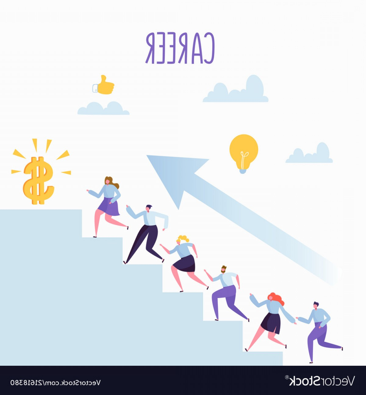 Stair Climb Vector: Flat Business People Climbing Up The Stairs Vector
