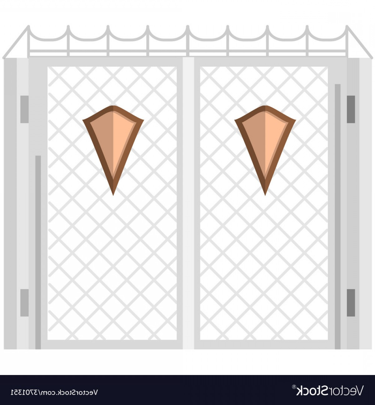 Wrought Iron Vector For CNC: Flat Color Icon For Steel Gates With Shields Vector