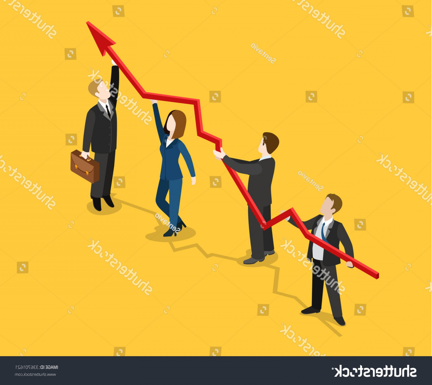 Growth Vector People: Flat D Isometric Profit Indicator Growth