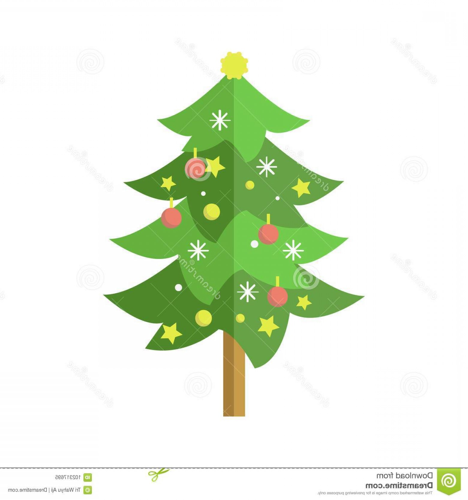 Christmas Pine Tree Vector Art: Flat Decorated Cartoon Christmas Pine Tree Christmas Tree Illustration Vector Graphic Image