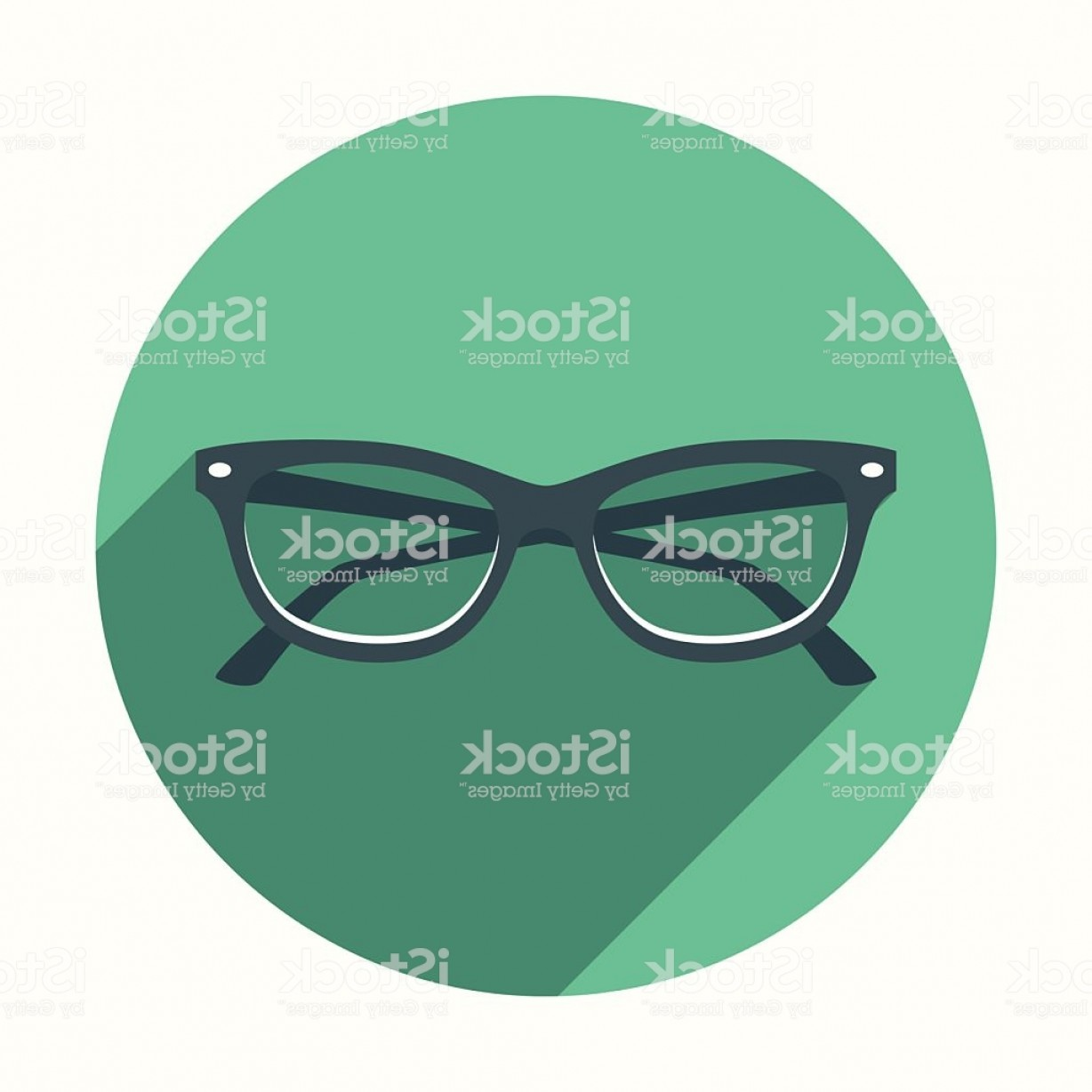 Glasses Vector Flat: Flat Design Cats Eye Glasses Icon With Long Shadow Gm