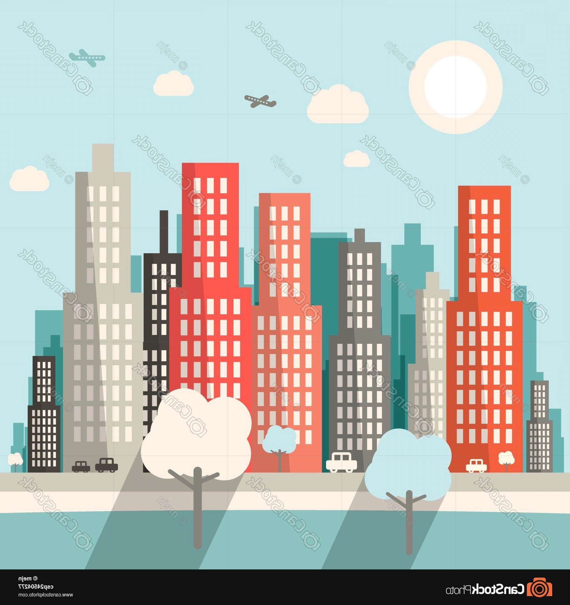 City Vector: Flat Design City Vector Illustration