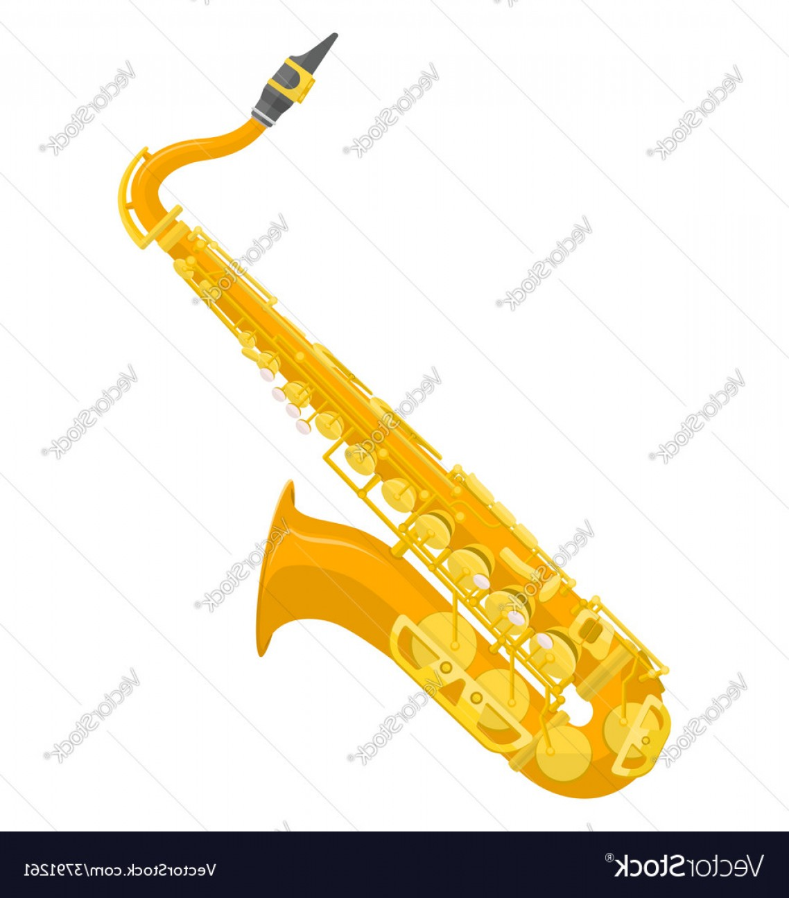 Alto Saxophone Vector Graphics: Flat Design Colored Copper Brass Alto Saxophone Vector