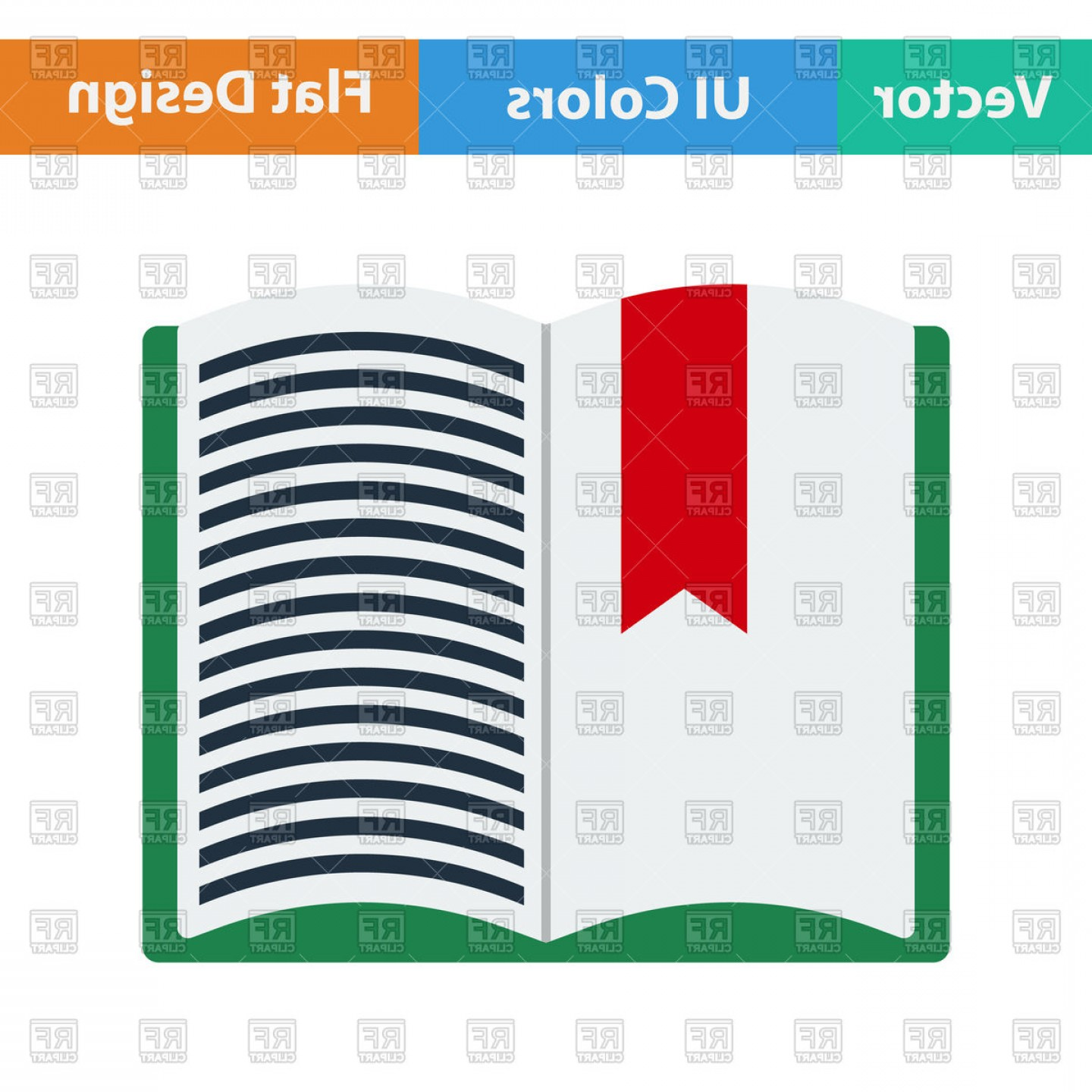 Open Book Vector Flat: Flat Design Icon Of Open Book With Bookmark In Ui Colors Vector Clipart