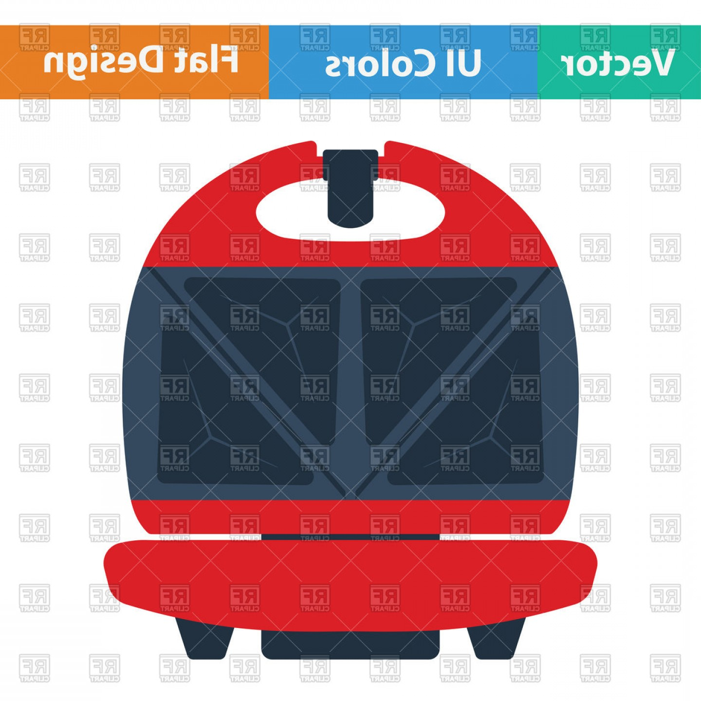 Vector Maker: Flat Design Of Kitchen Sandwich Maker Icon In Ui Colors Vector Clipart