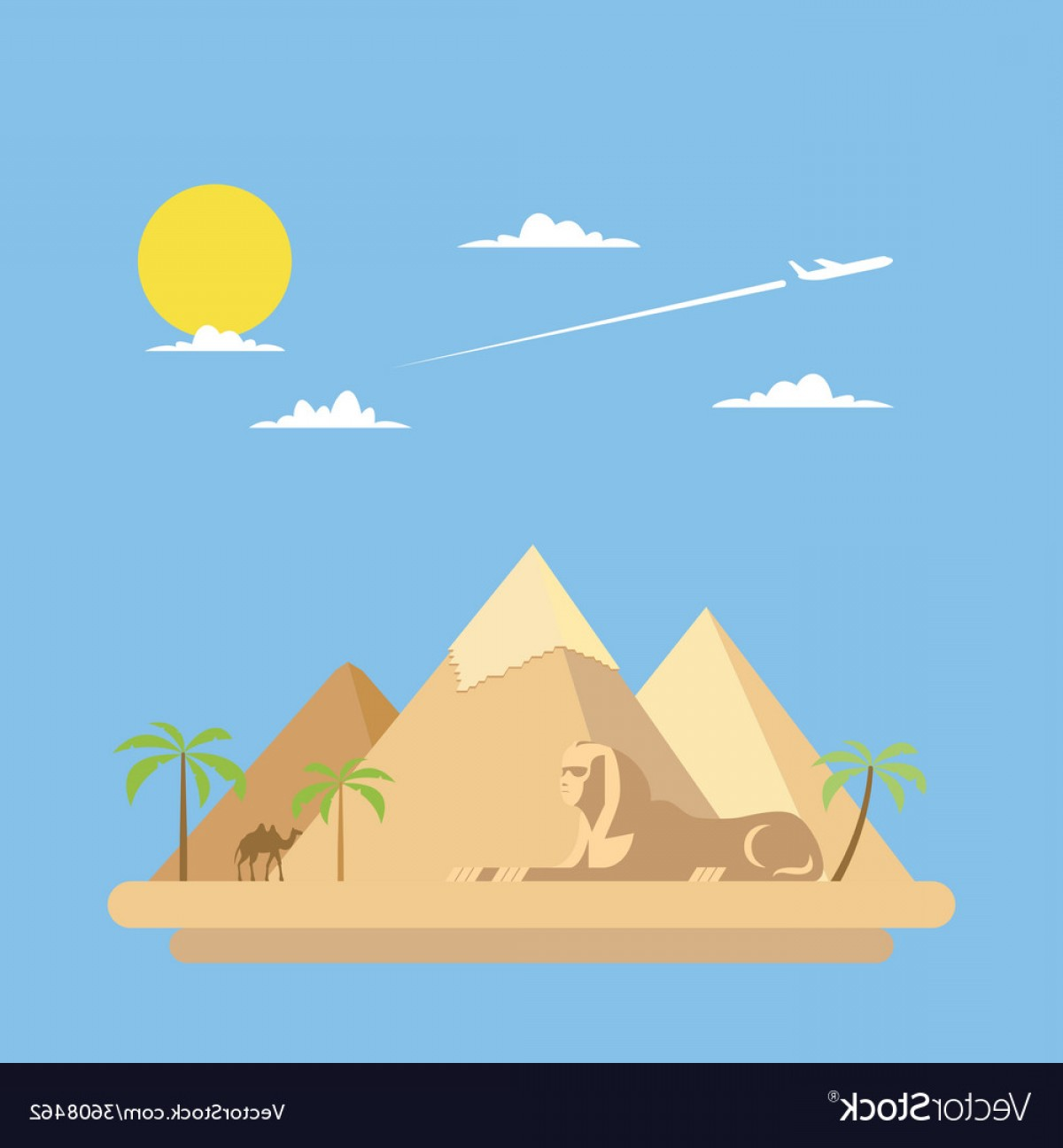 Piramids Vector Art: Flat Design Of Pyramids Giza Vector