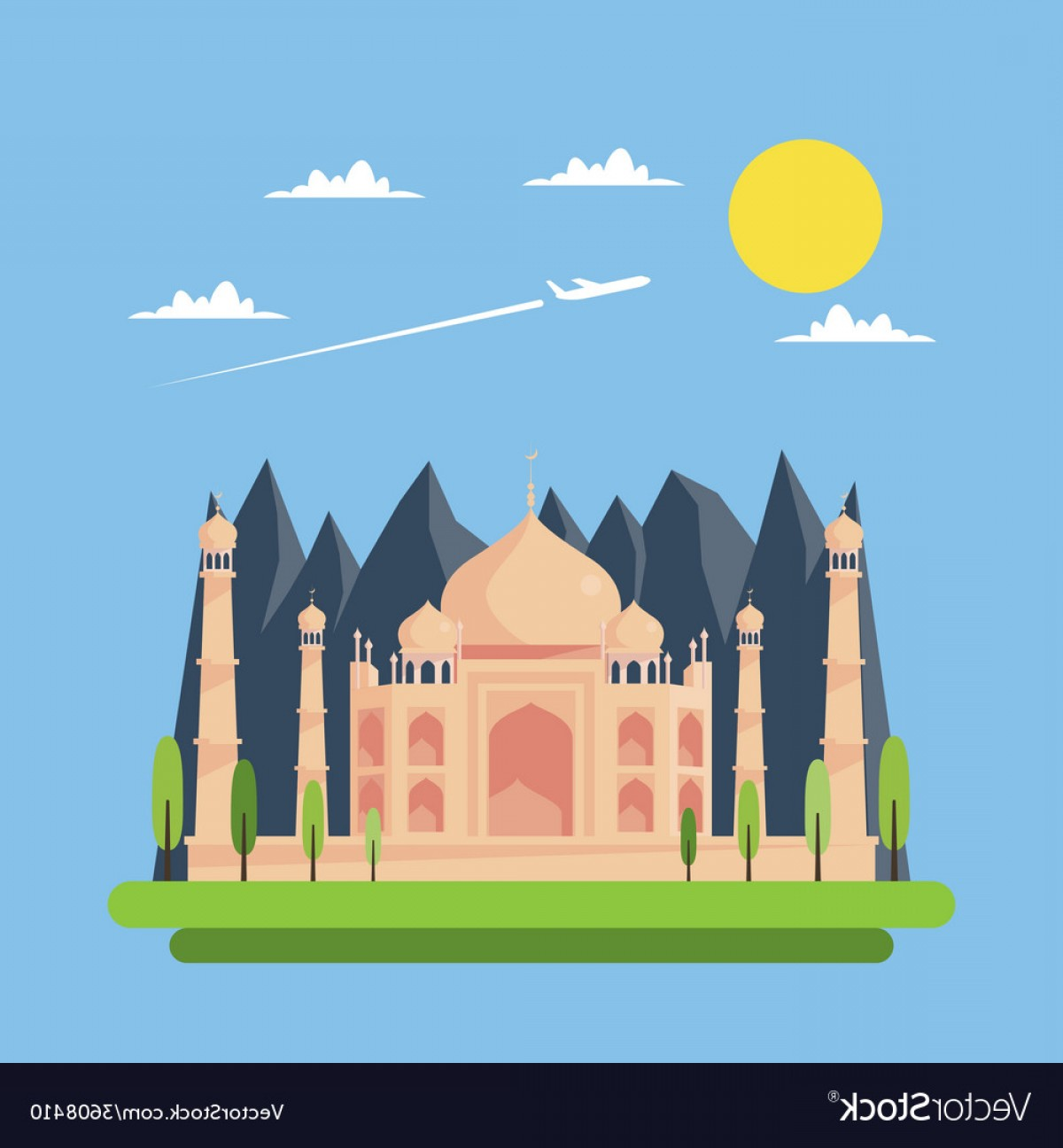 Taj Mahal Vector: Flat Design Of Taj Mahal Vector