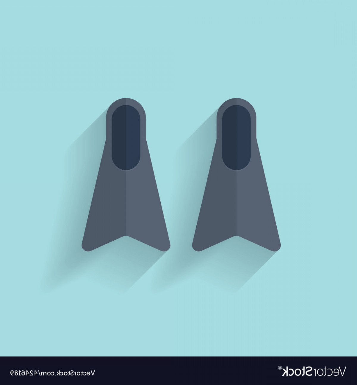 Vector Systems Fins: Flat Diving Flippers Fins Web Icon Vector