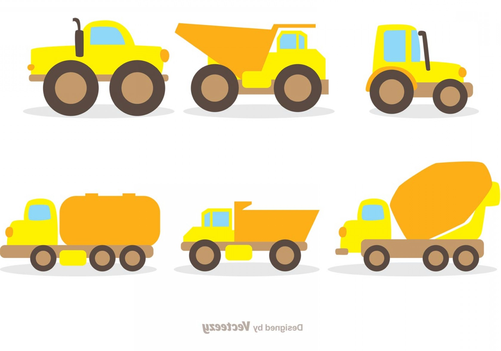 Tank Trucks Vector Art: Flat Dump Trucks Vector Pack