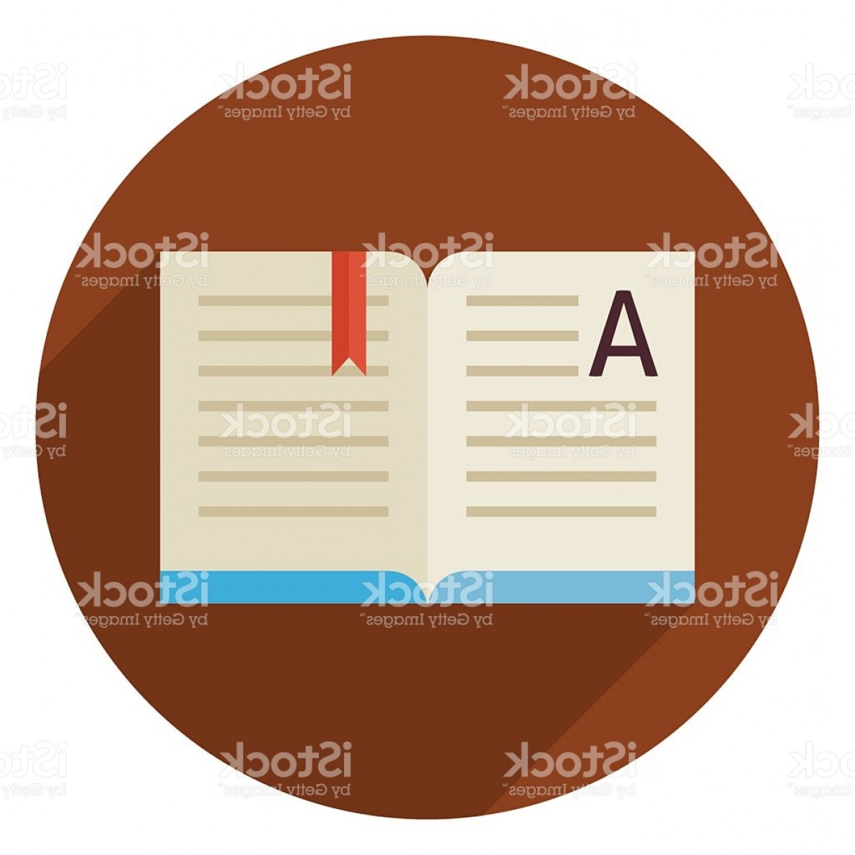 Open Book Vector Flat: Flat Education Reading Open Book Circle Icon With Long Shadow Gm