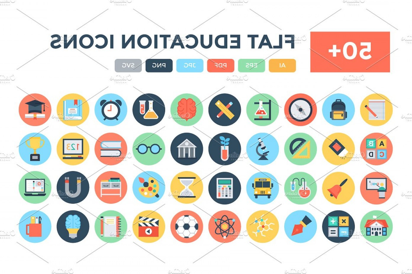 Free Vector Flat Education Icons: Flat Education Vector Icons