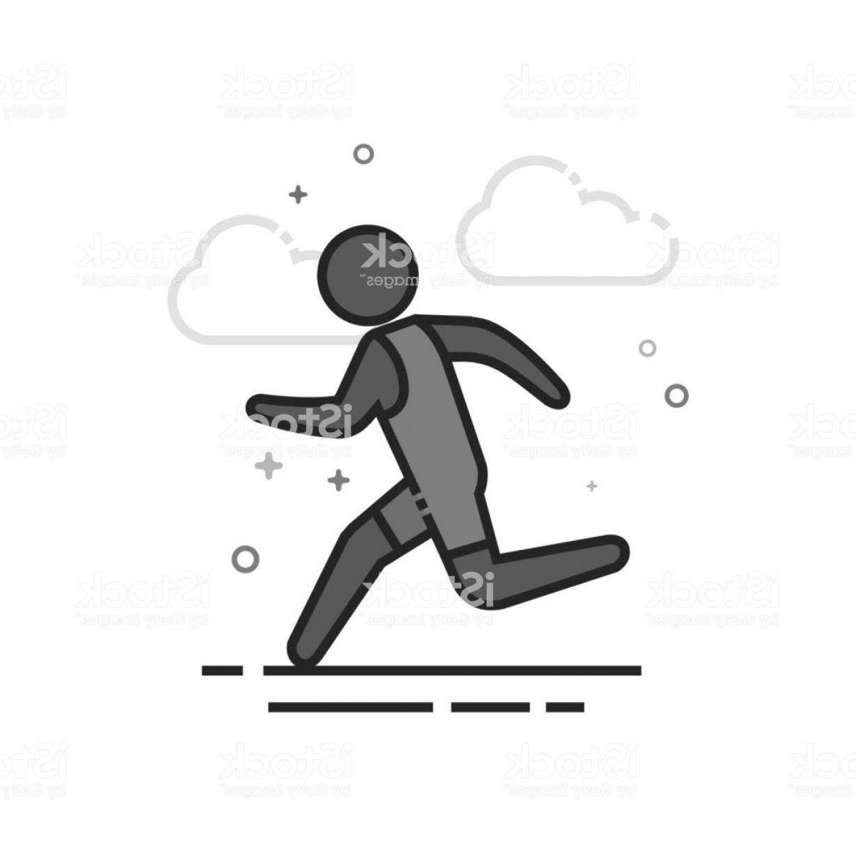 Athlete Vectors: Flat Grayscale Icon Running Athlete Gm