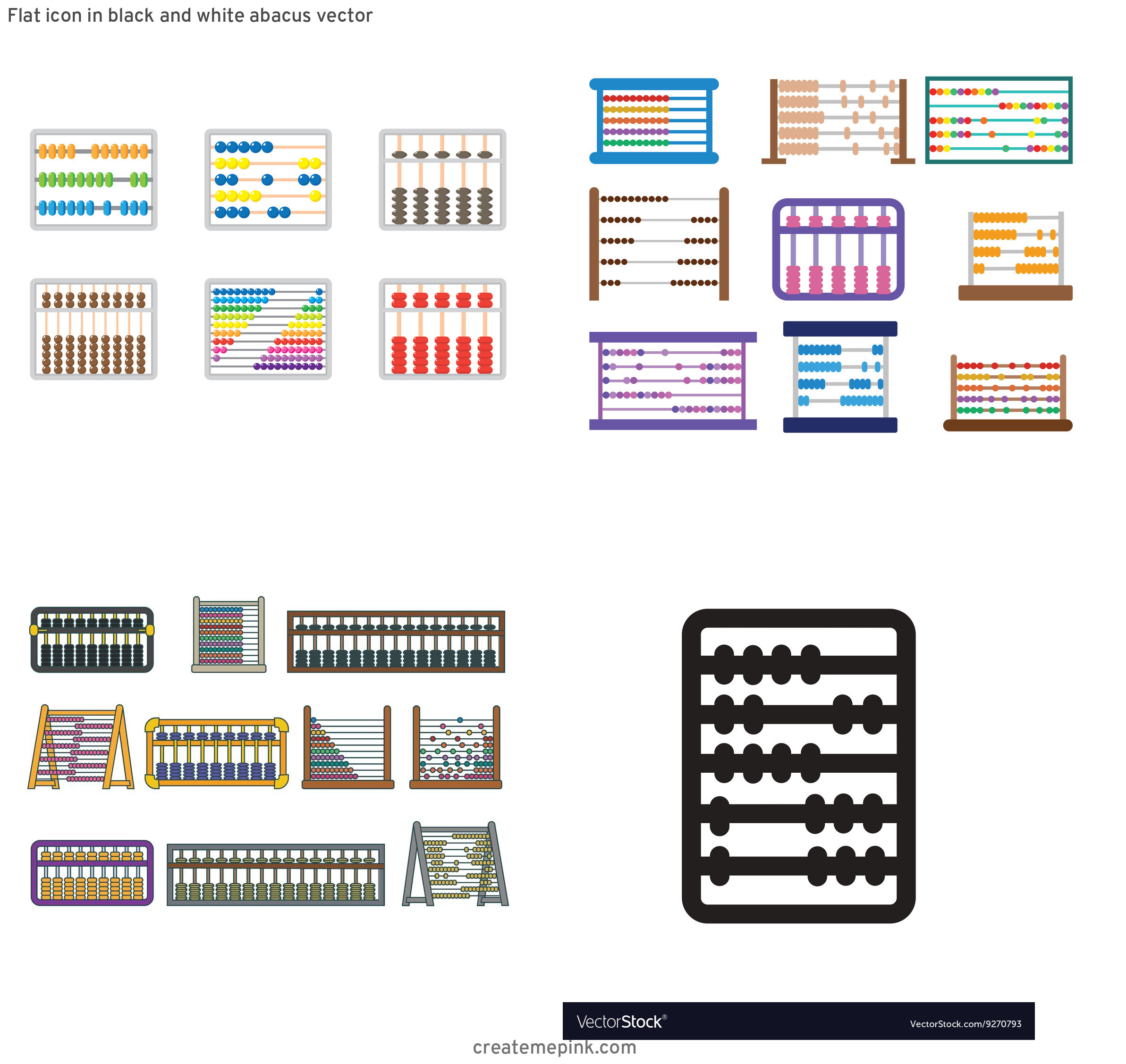 Abacus Vector Art: Flat Icon In Black And White Abacus Vector