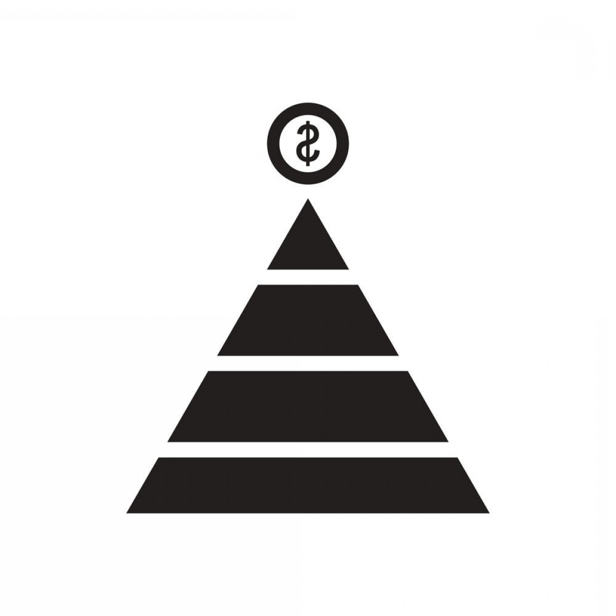 Piramids Vector Art: Flat Icon In Black And White Financial Pyramid Vector Ai Eps File