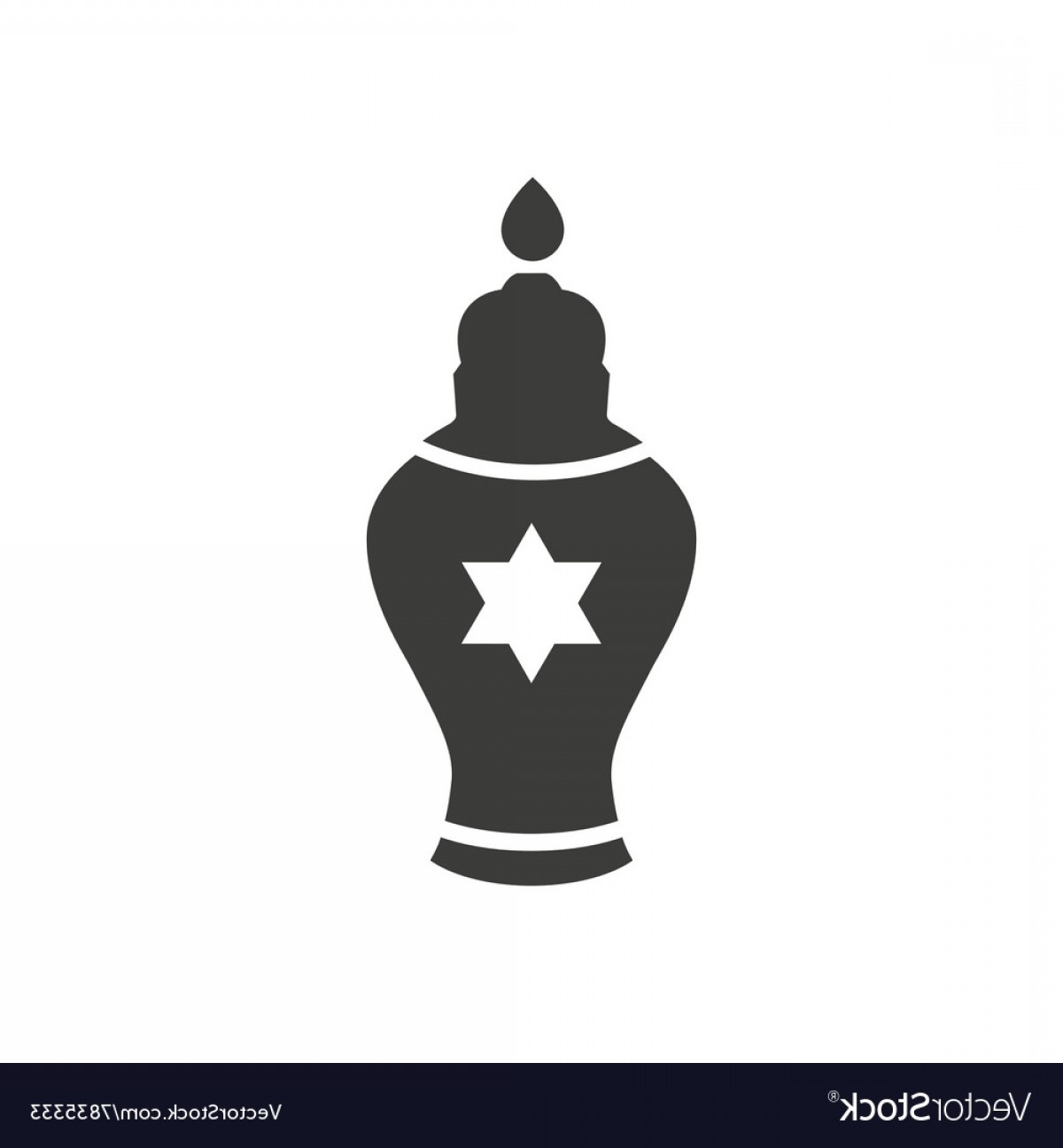 Candle Vector Black: Flat Icon In Black And White Style Jewish Candle Vector