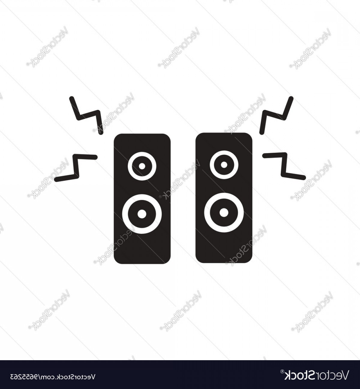 Speakers Vector Black: Flat Icon In Black And White Style Music Speakers Vector