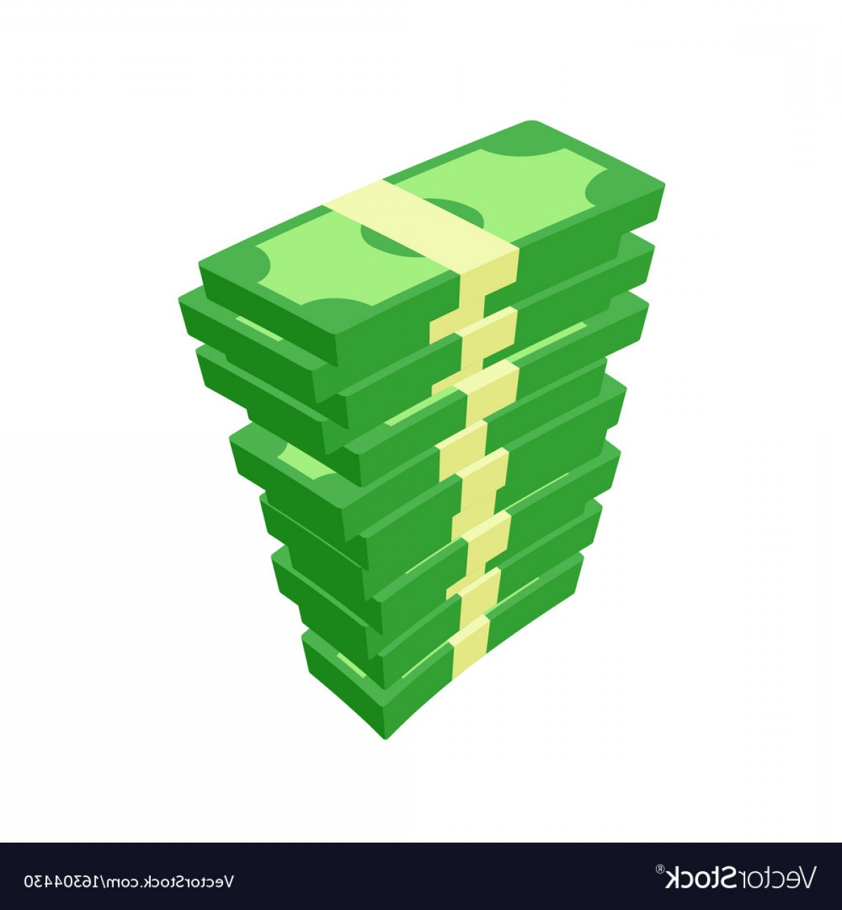 Hundreds Of Money Stacks Vector: Flat Icon Of Money Stacks Of Banknotes Vector