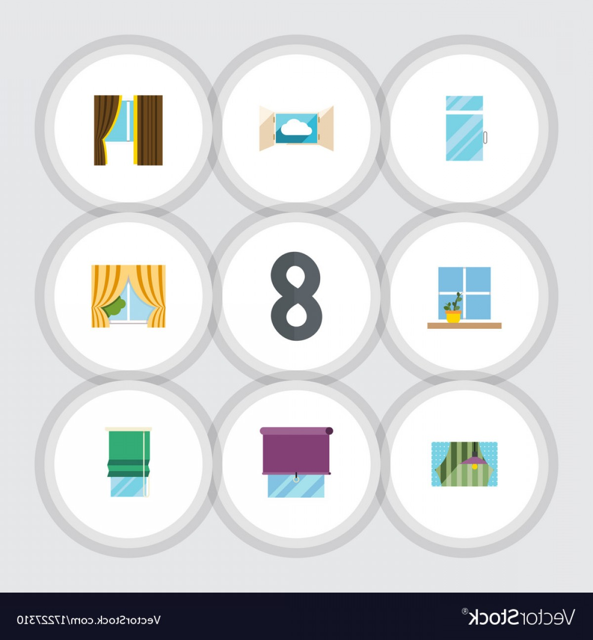 Windows 8 Phone Icon Vector: Flat Icon Window Set Of Glass Frame Clean Vector