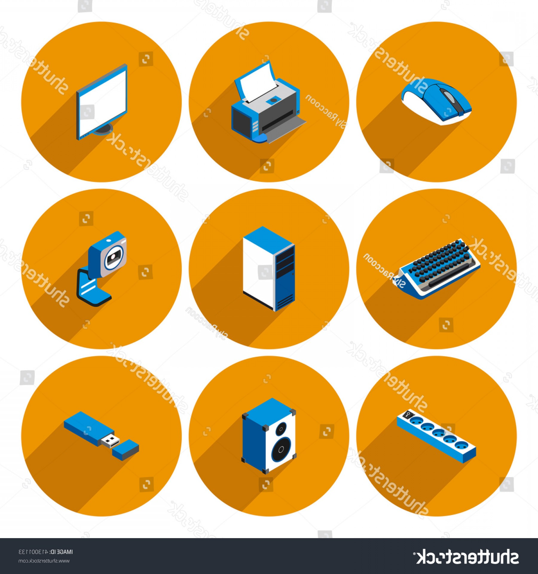 Computer Vector Icon Flat: Flat Icons Accessories Personal Computer Vector
