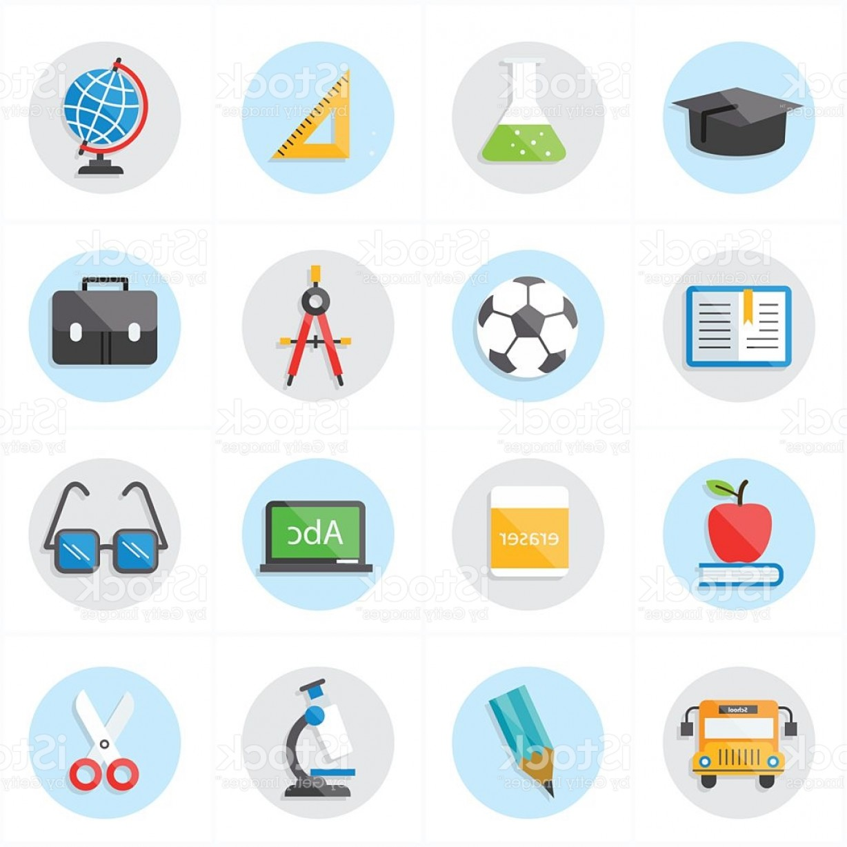 Free Vector Flat Education Icons: Flat Icons For Education Icons And School Icons Vector Illustration Gm