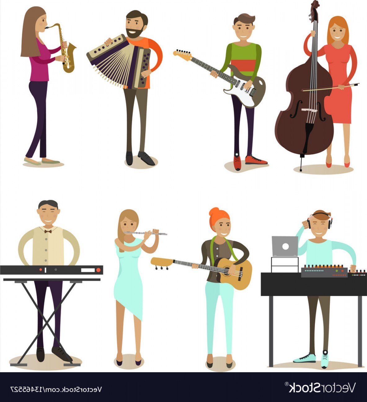 Musician Person Vector: Flat Icons Set Of Musician Characters Vector