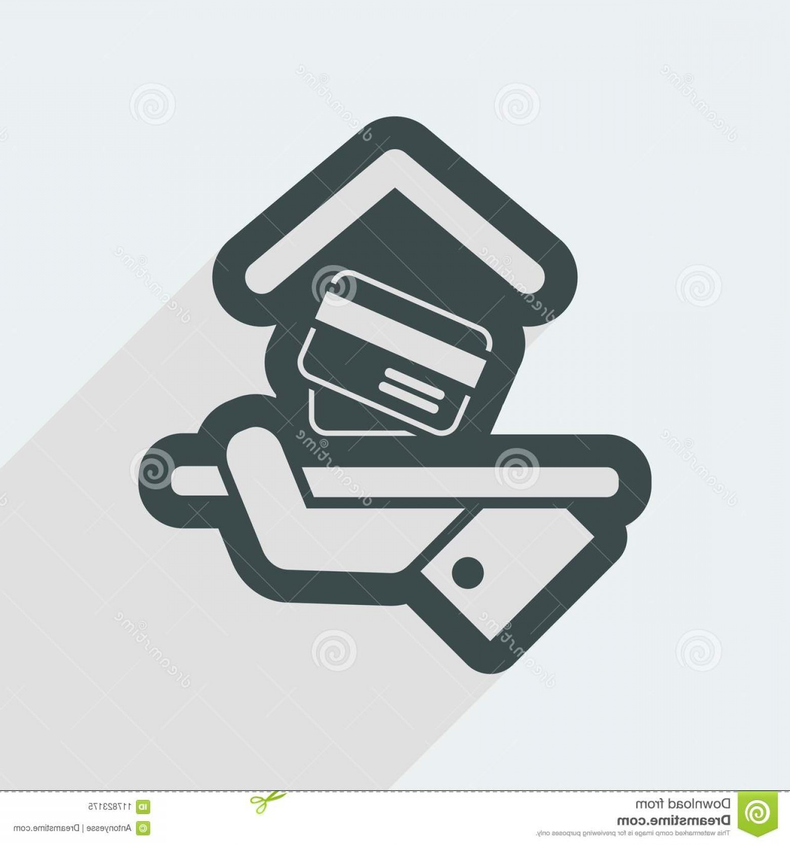 Vector Cards Accepted: Flat Isolated Vector Eps Illustration Icon Minimal Design Long Shadow Hotel Icon Credit Cards Accepted Image