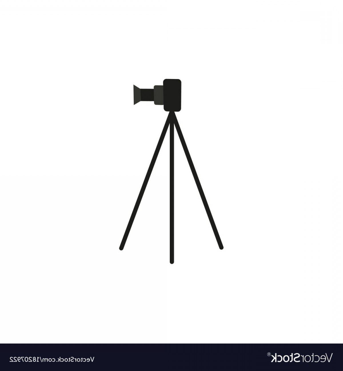 Vector Camera Stand: Flat Lens Photo Camera Standing At Tripod Vector