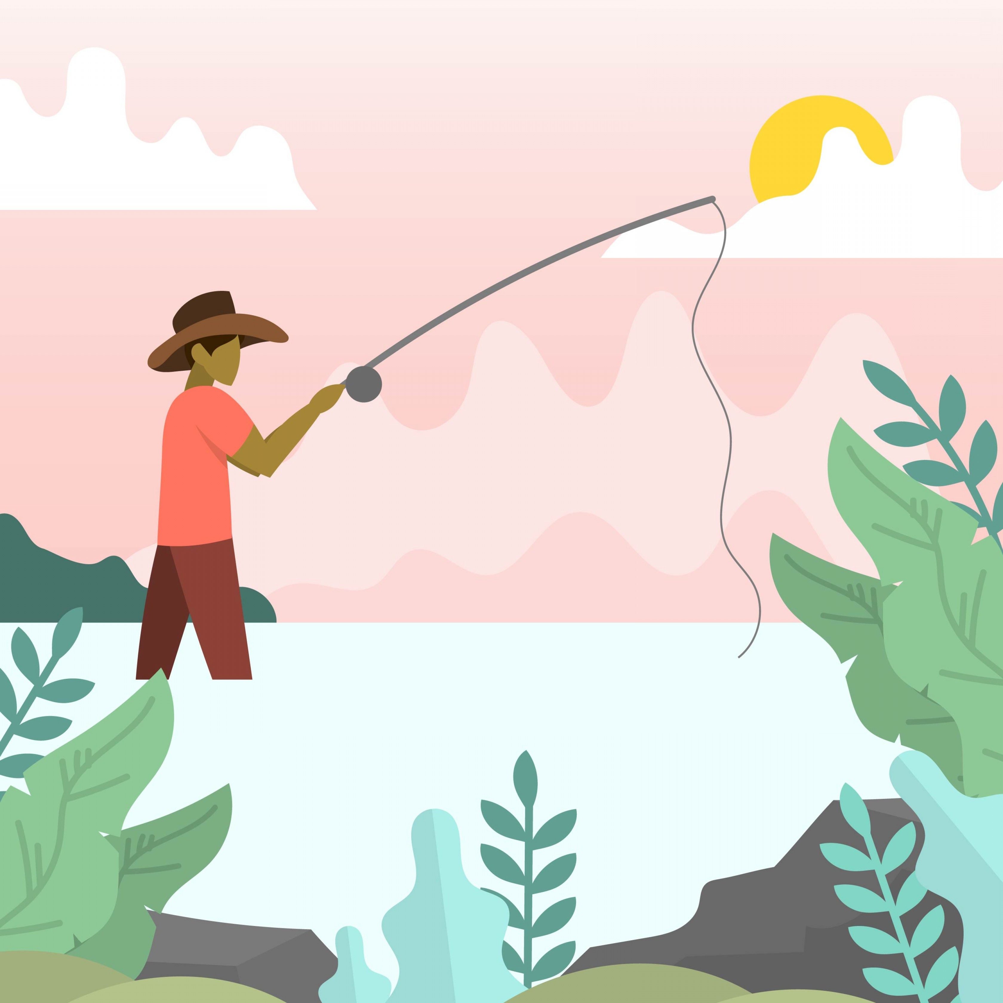 Detailed Vector Art Fly Fisherman: Flat Modern Fly Fisherman With Minimalist Background Vector Illustration