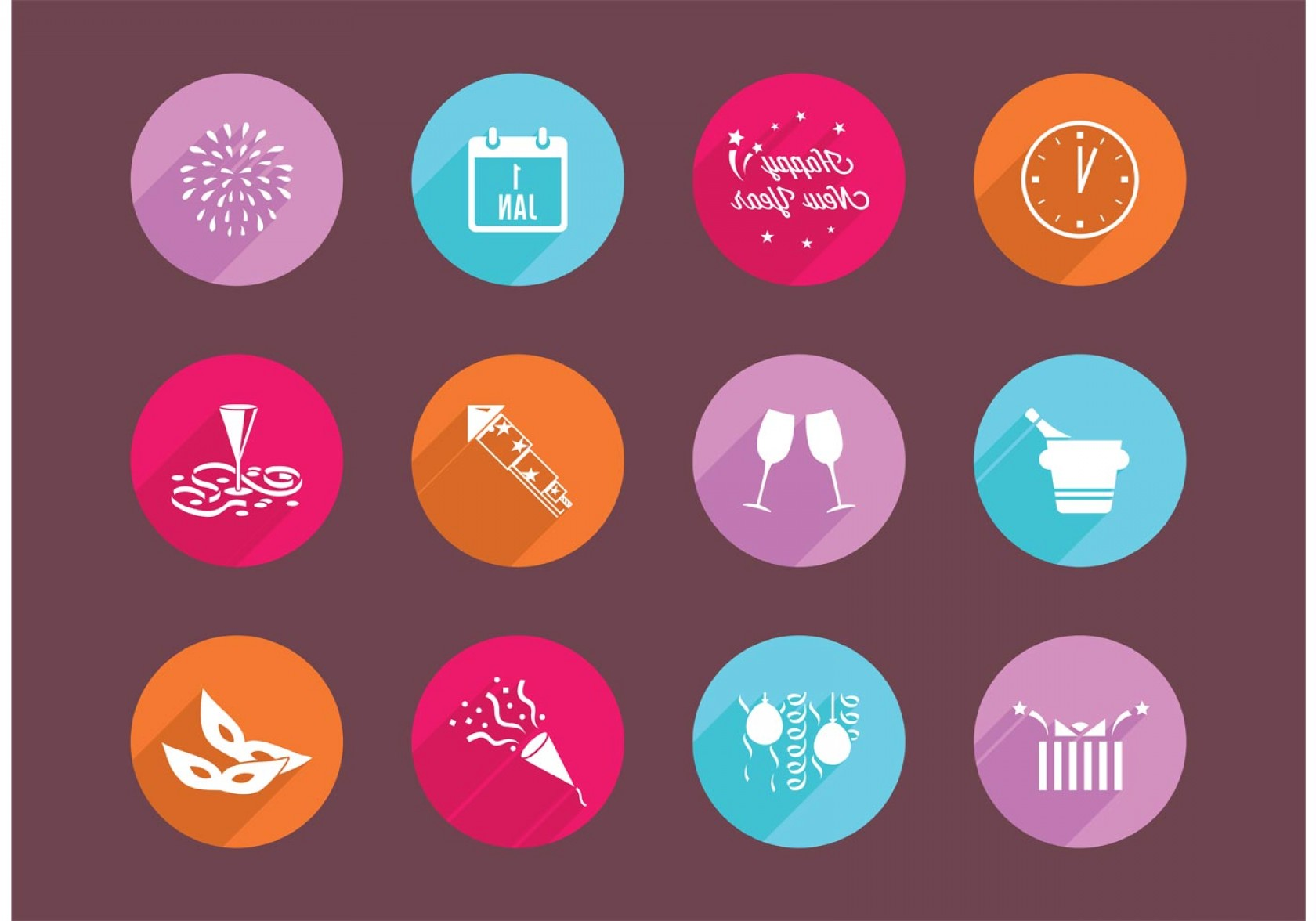 Vector New Year's Eve: Flat New Years Eve Vector Icons