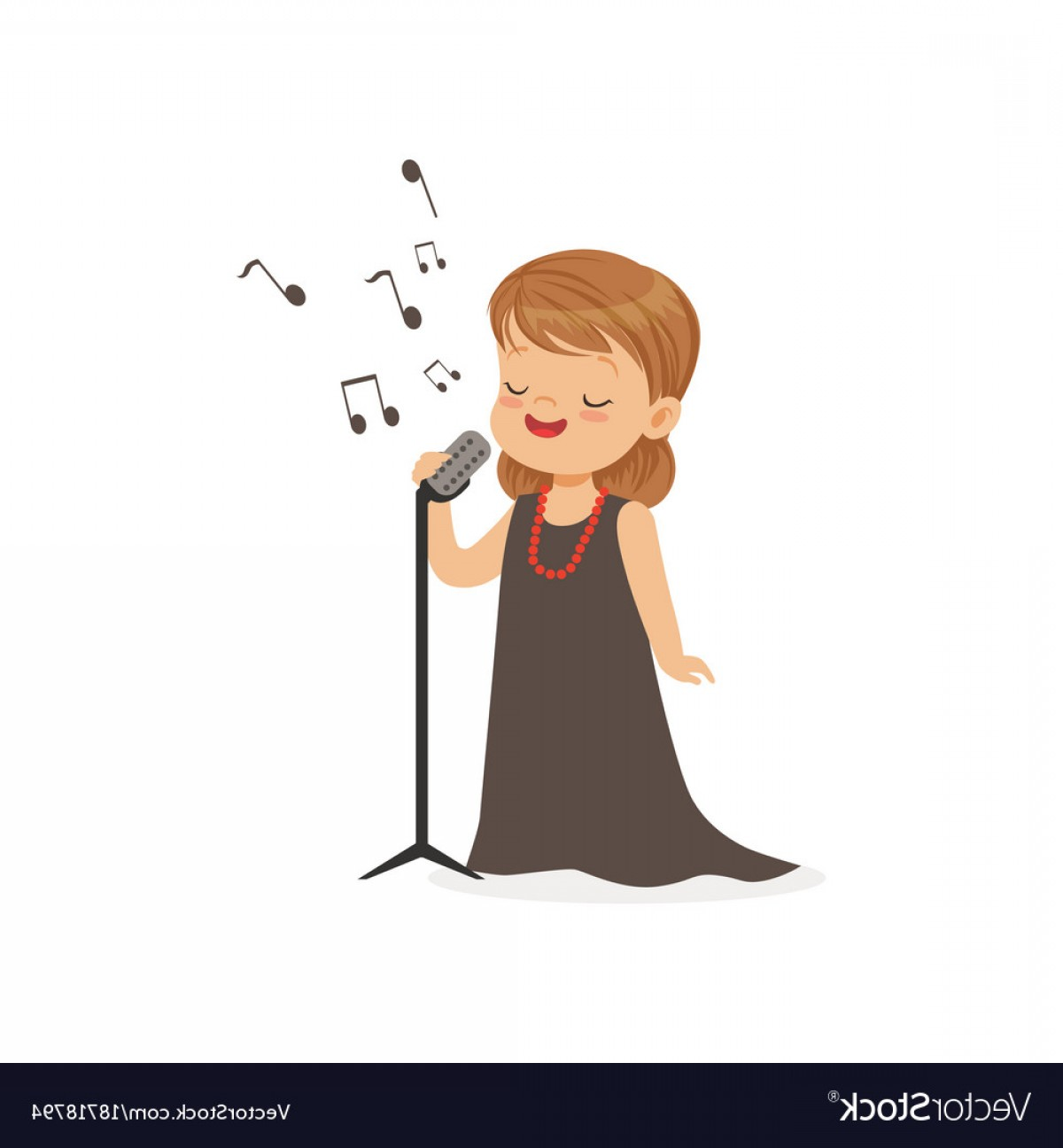 Singing Girls Vector Art: Flat Of Singing Little Girl Vector