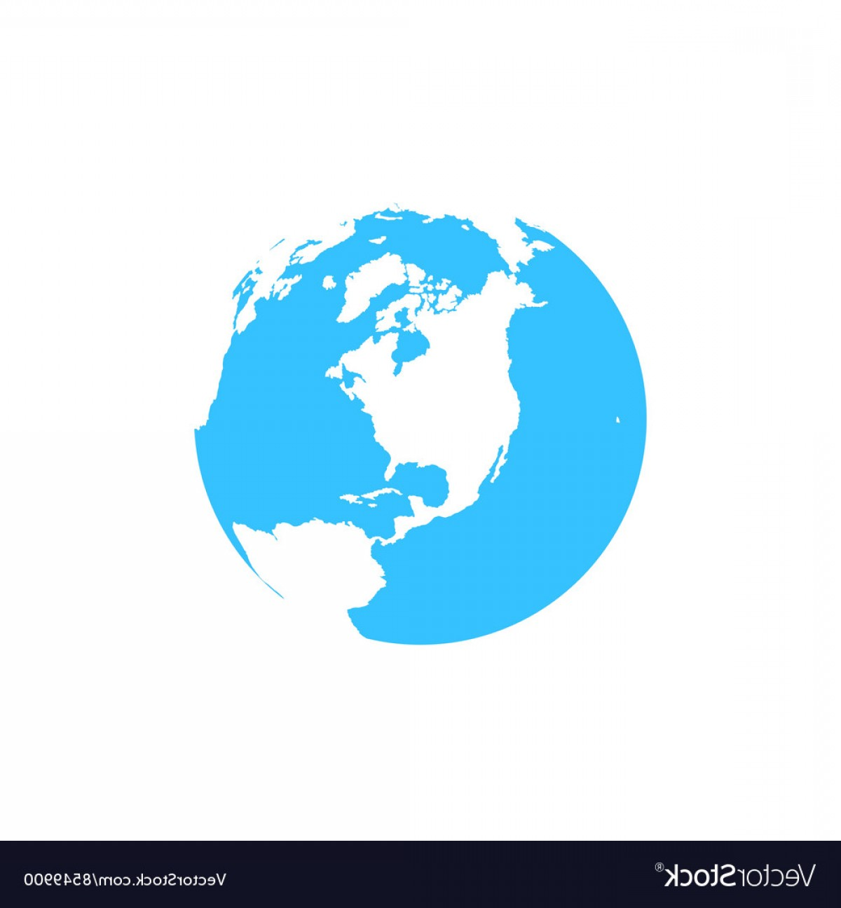 One Color Simple Vector Globe: Flat Simple Blue Earth Icon Isolated On White Vector