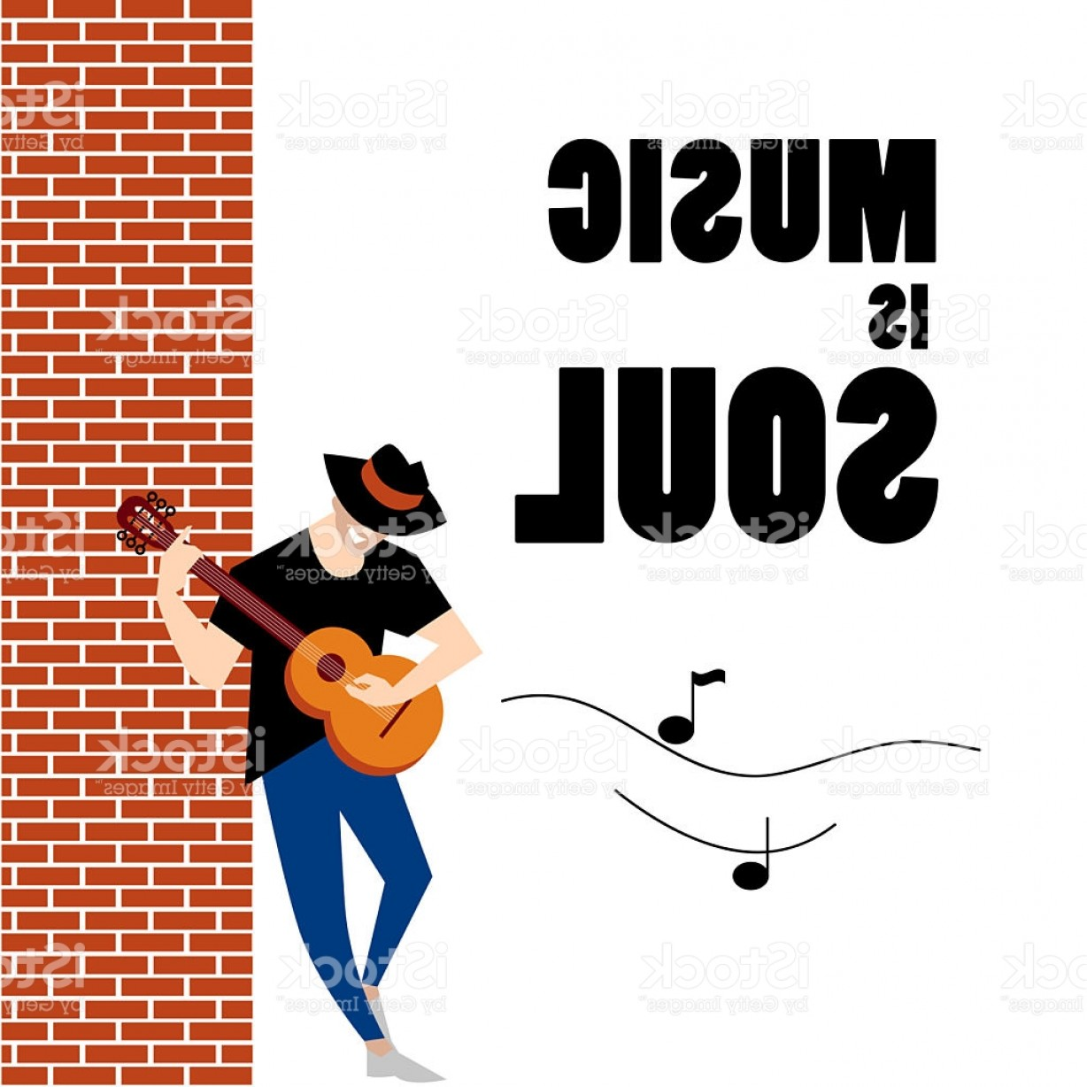 Musician Person Vector: Flat Simple Friendly Guitar Man In Hat Character Gm
