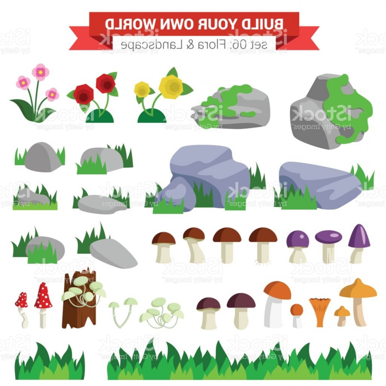 Vector Stone Landscaping: Flat Style Flora Landscape Environment Stone Flower Mushroom Moss Bush Grass Nature Gm