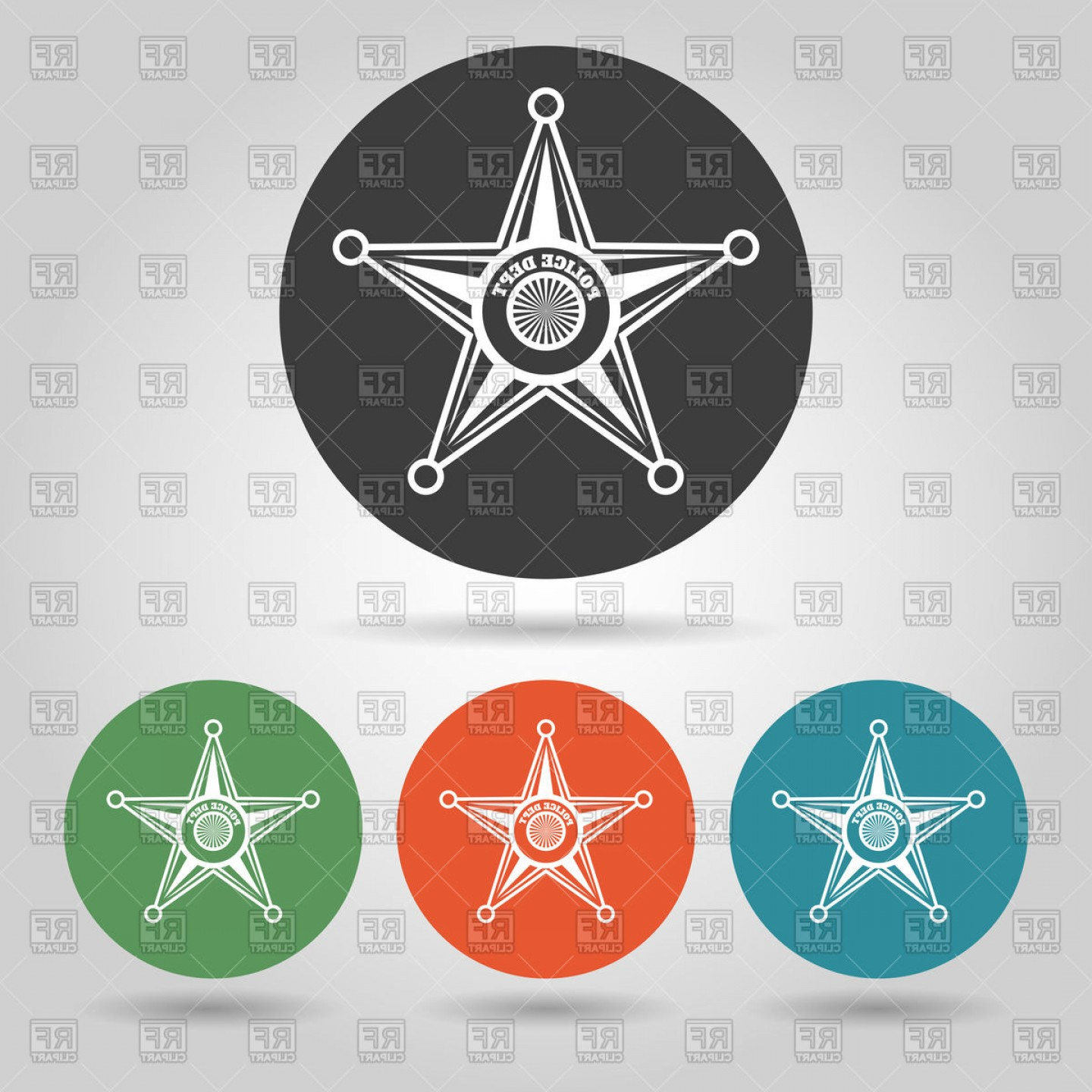 Star Badge Vector: Flat Style Sheriff Star Badge Set Vector Clipart
