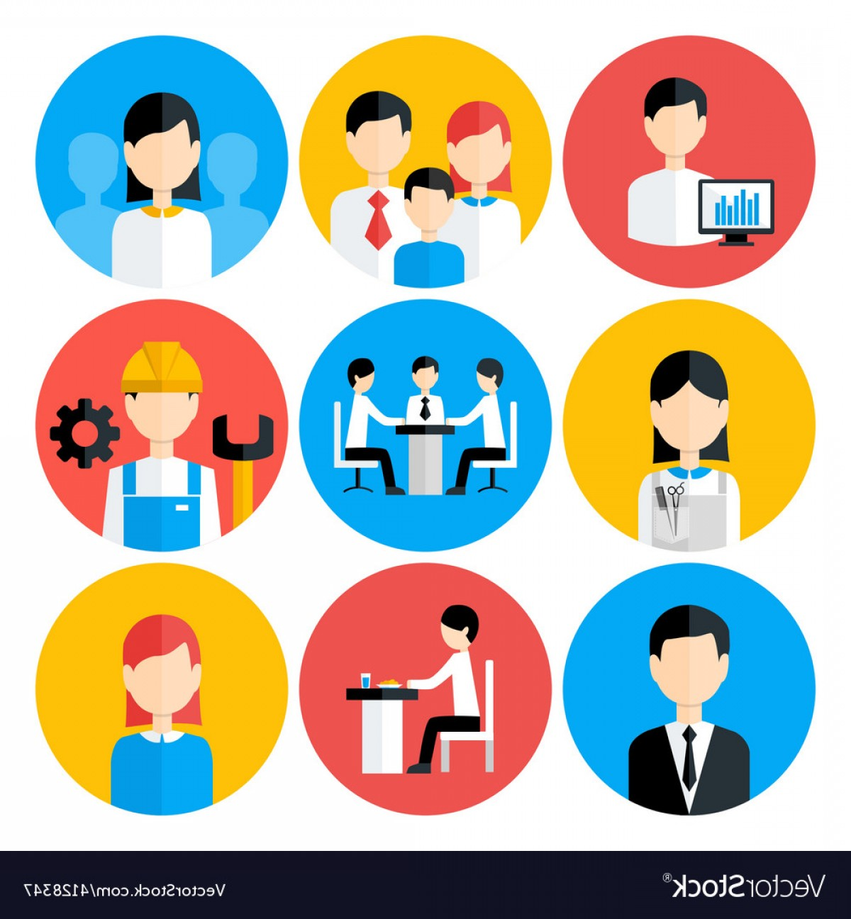 Free Vector Business People Icon: Flat Stylized Business People Icons Set Vector