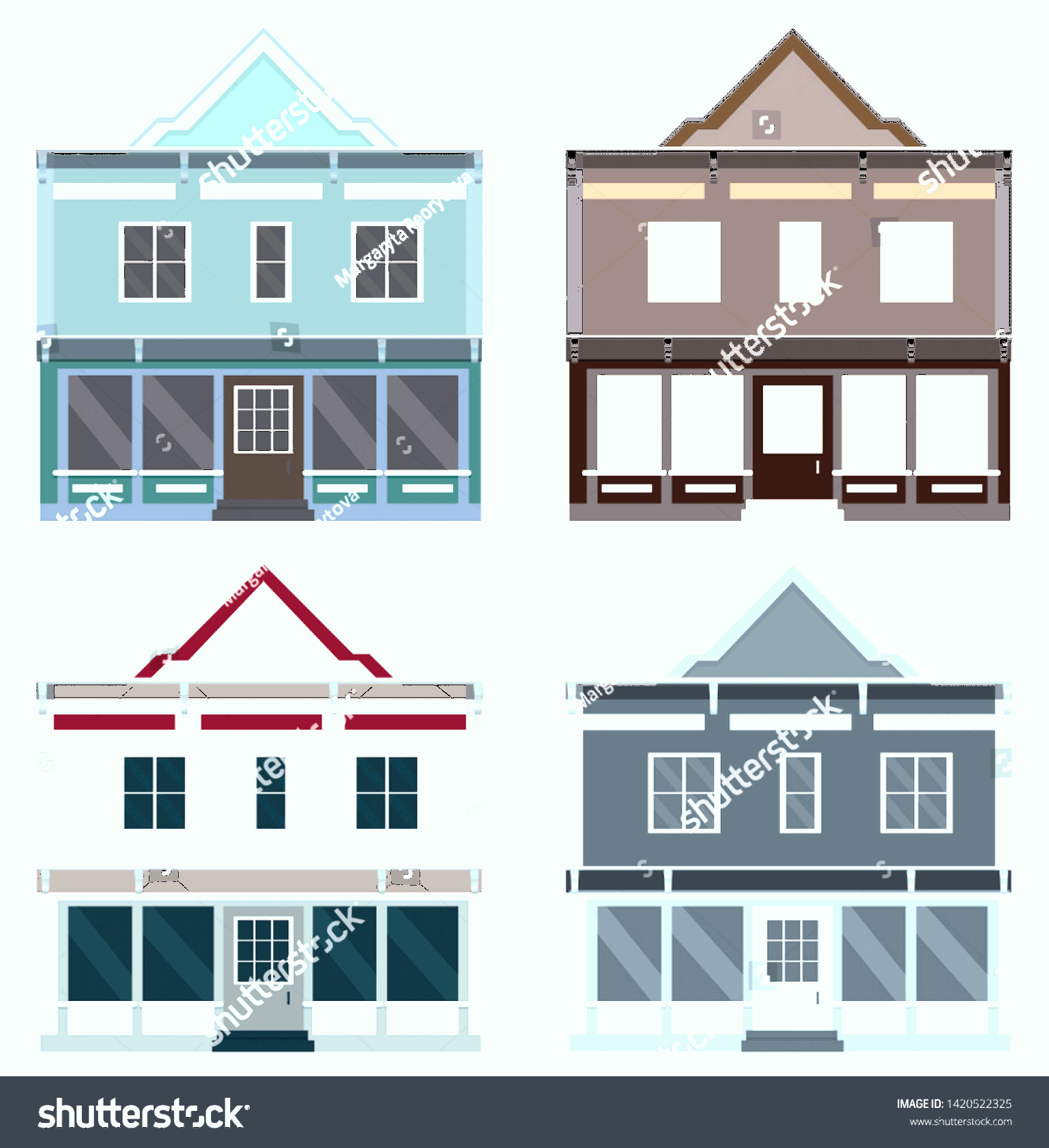 Flat Vector House: Flat Vector House Different Colors Illustration