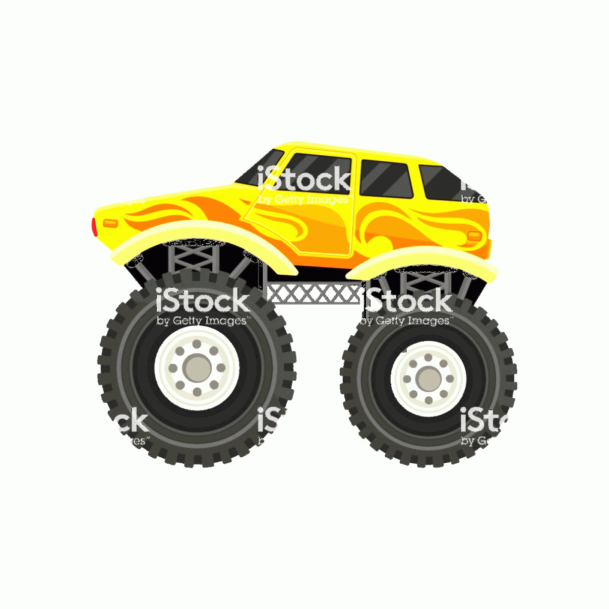 Monster Truck Tires Vector: Flat Vector Icon Of Bright Yellow Monster Car With Large Tires Element For Mobile Gm
