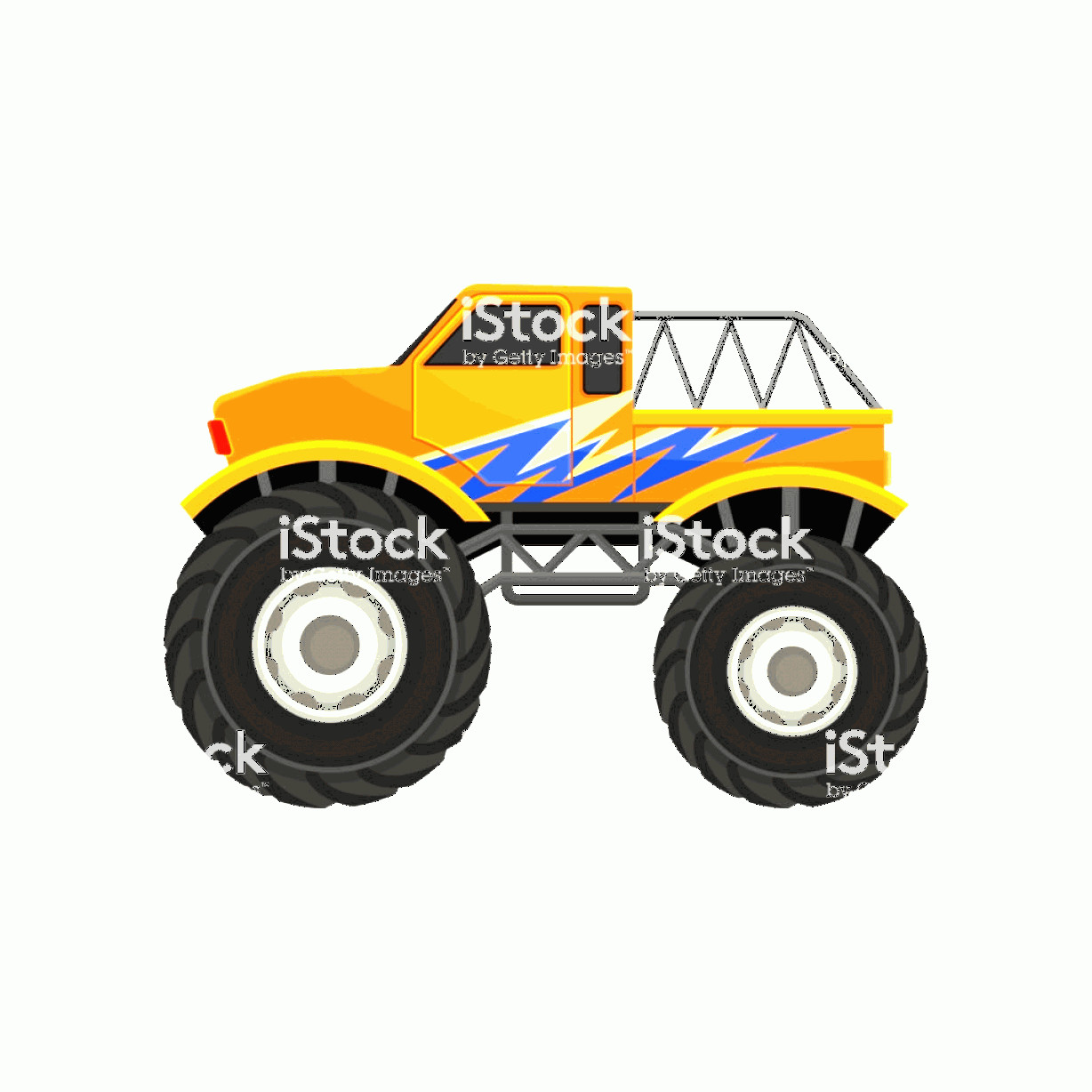 Monster Truck Tires Vector: Flat Vector Icon Of Heavy Monster Truck Orange Pickup With Large Tires Black Tinted Gm