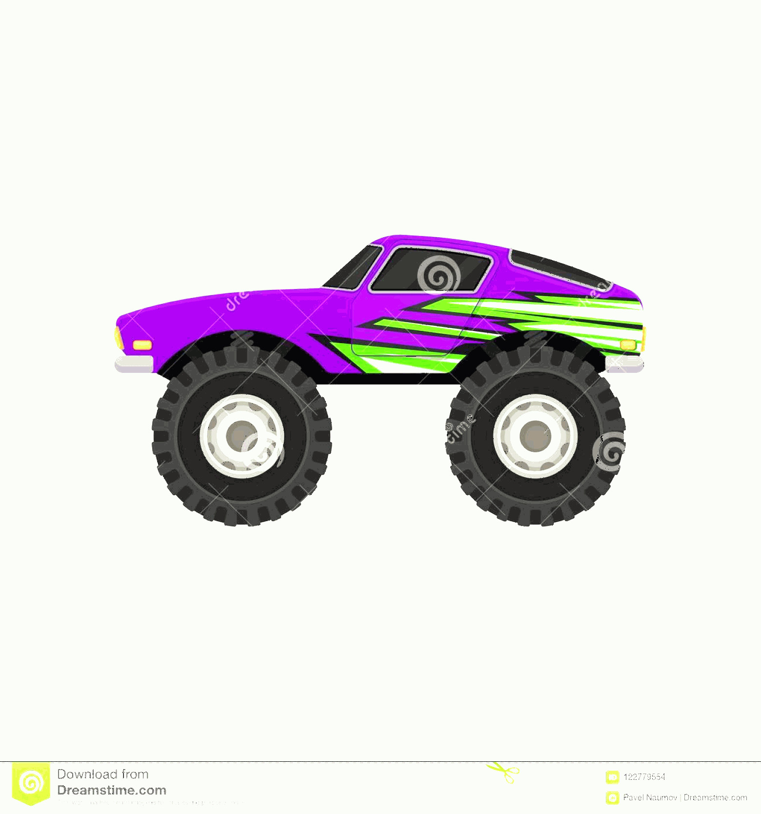 Monster Truck Tires Vector: Flat Vector Icon Purple Monster Truck Cartoon Icon Car Large Tires Black Tinted Windows Green Decal Purple Monster Image