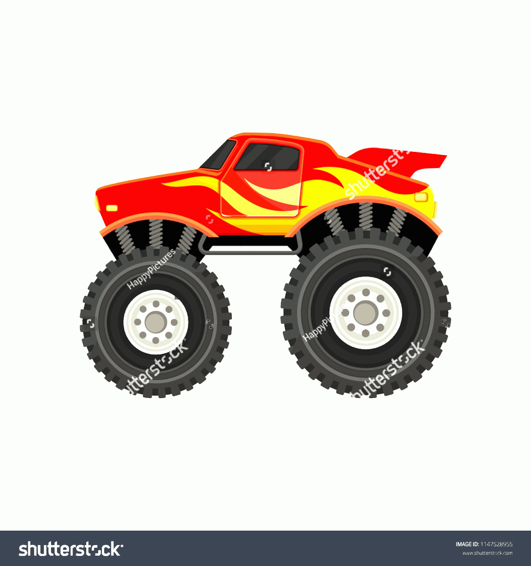 Monster Truck Tires Vector: Flat Vector Icon Red Monster Truck