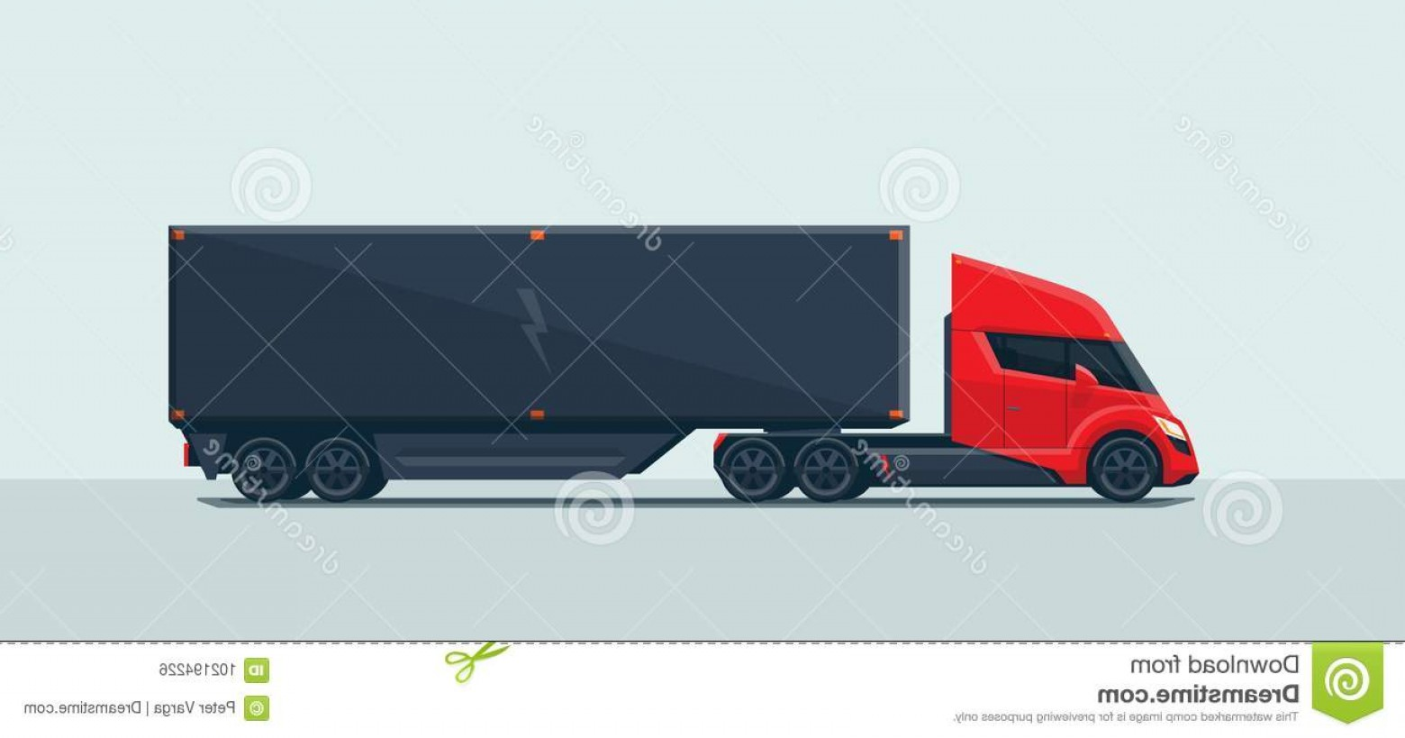 Vector Truck And Trailer Hauling: Flat Vector Illustration Abstract Futuristic Red Electric Semi Trailer Truck Trailer Modern Design Sleeper Image