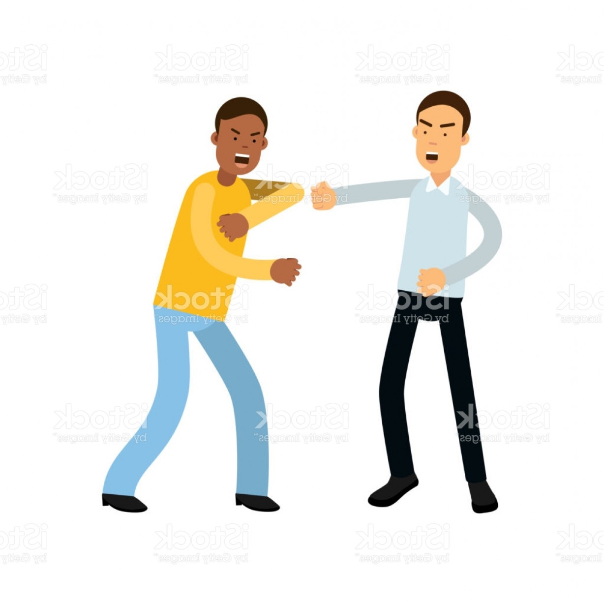Violent Vector Art: Flat Vector Illustration Of Two Angry People Characters In Fighting Pose Aggressive Gm