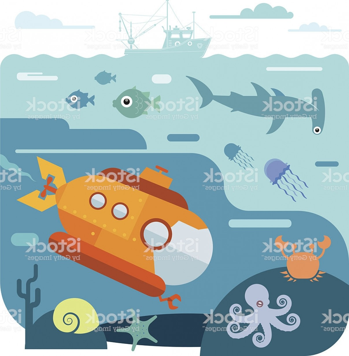 Underwater Sea Vector Art: Flat Vector Illustration Of Underwater Sea Life Gm