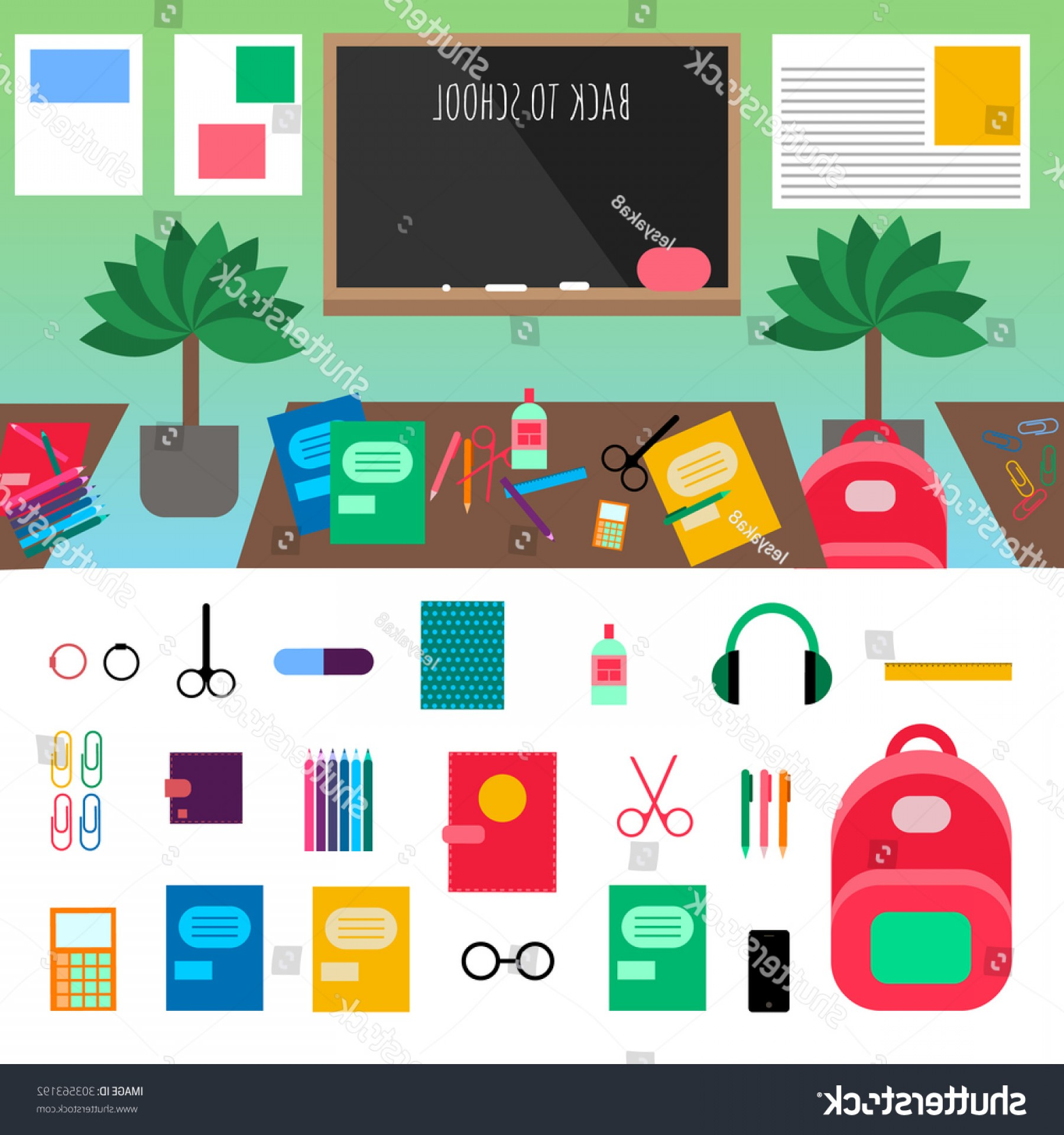 Individual School Supplies Vector: Flat Vector School Essentials Supplies Icons