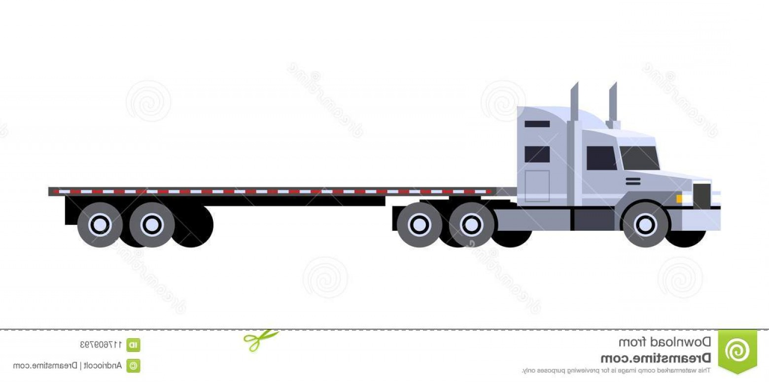 Vector Truck And Trailer Hauling: Flatbed Trailer Tractor Truck Minimalistic Icon Front Side View Semi Vehicle Vector Isolated Illustration Image