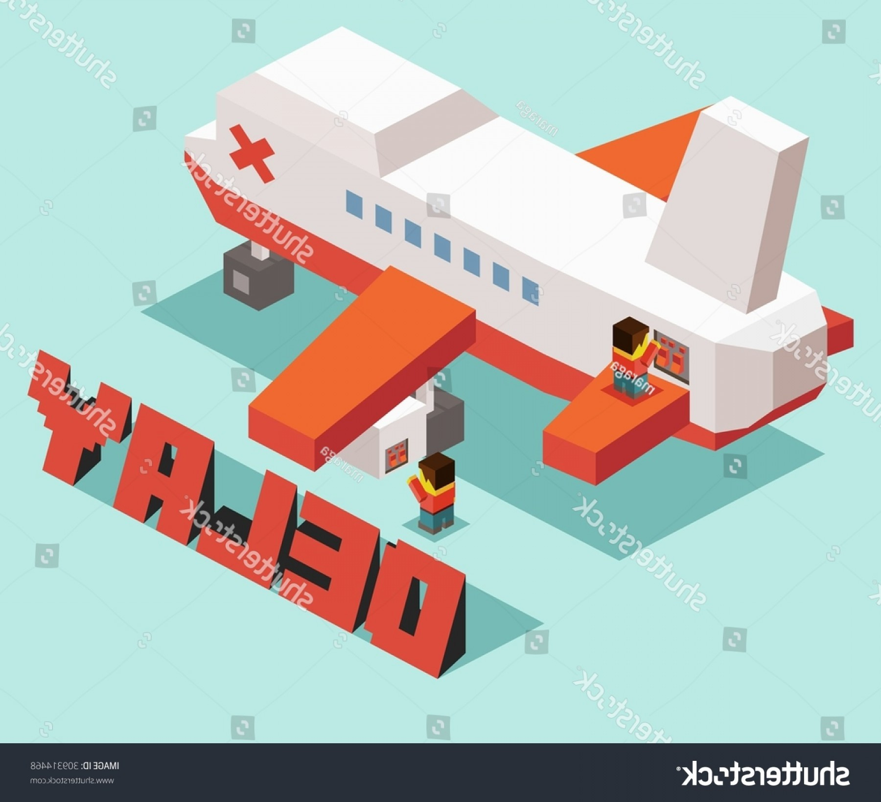 Vector Airplane Problem: Flight Delay Problem Isometric Art