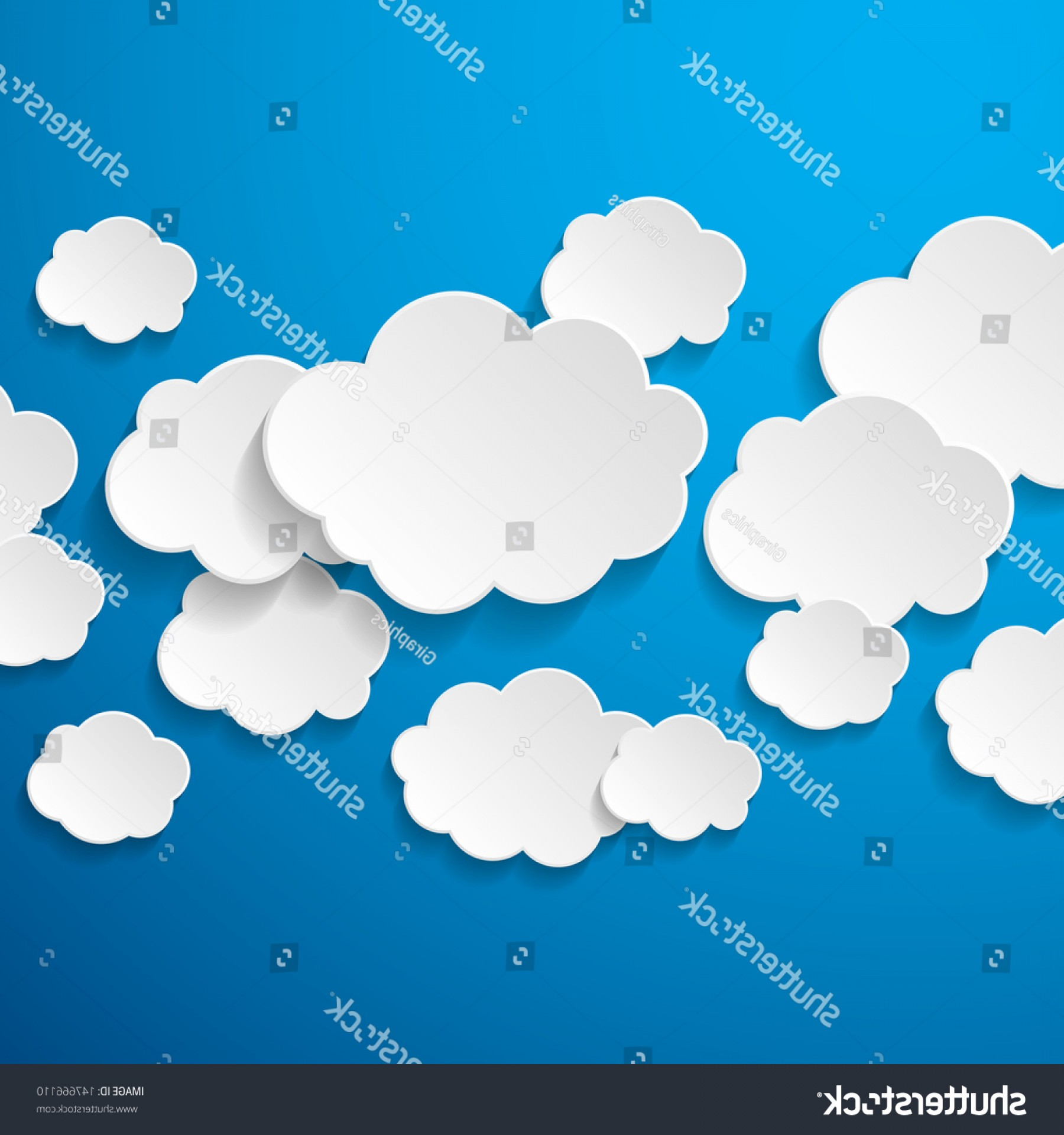 Clouds Backgrounds Vector: Floating Paper Clouds Background Vector On