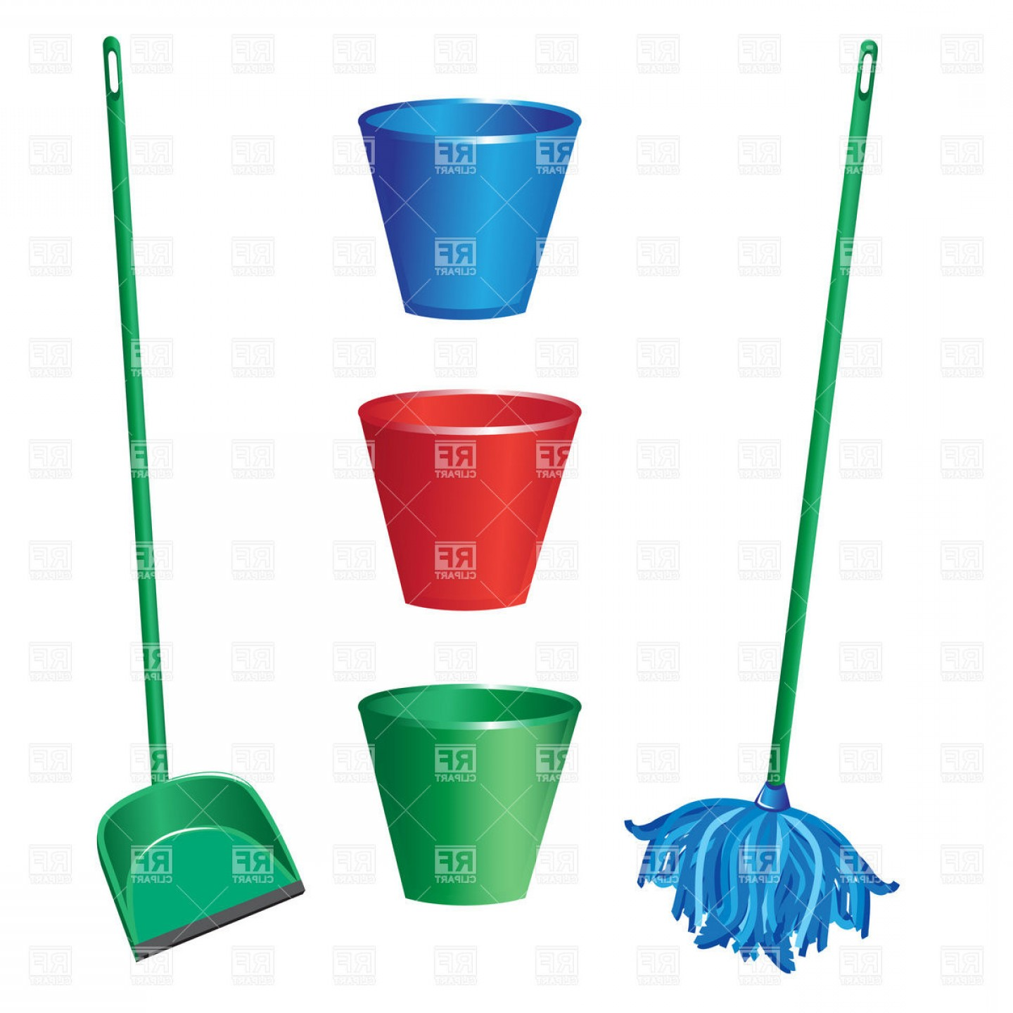 Mop And Bucket Clip Art Vector: Floor Cleaning Tools Swab Dustpan And Plastic Bucket Vector Clipart